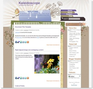 kaleidoscope blogger template, WordPress theme original version