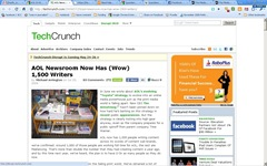 2009 techcrunch says AOL has 1500 writers