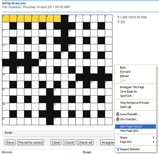Crossword solving tool for the blind crossword unclued