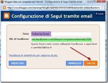 configurazione widget segui tramite email