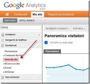 velocità sito google analytics