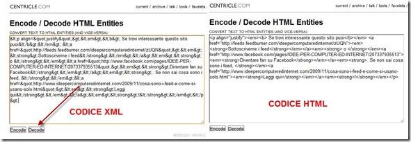 codice xml in html