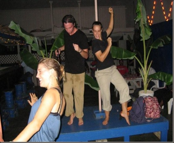 Saskia, Shawn and Amy dancing at Kalia Bar