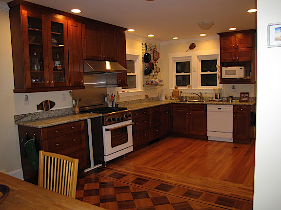 Show me your stained wood cabinets with wood floors for Floors to match cherry cabinets