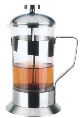 Stainless Steel Coffee Press SS & Tempered Glass Coffee Plunger - 600ml