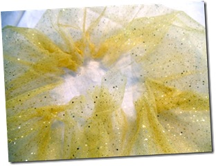 Gather folded tulle strip