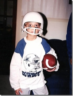 Christian dressed up as football player