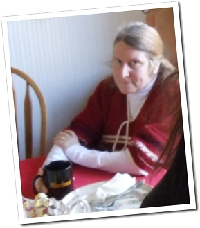 Heather having tea