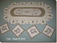 Hearts & Flowers Table Runner & Coaster set July 2007 (1) copy