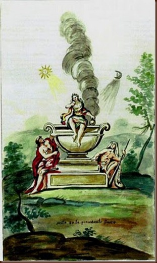 An emblem from Honoratus Marinier's ca. 1790 Alchemical Manuscript of the Seven Keys (McLean's edition).