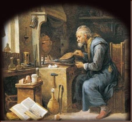 Ζωγραφική απεικόνιση αλχημιστή στο εργαστήριο του..