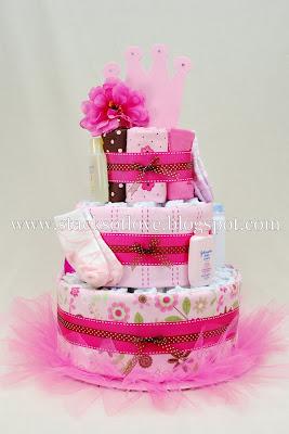 Pink Princess Ballerina Diaper Cake