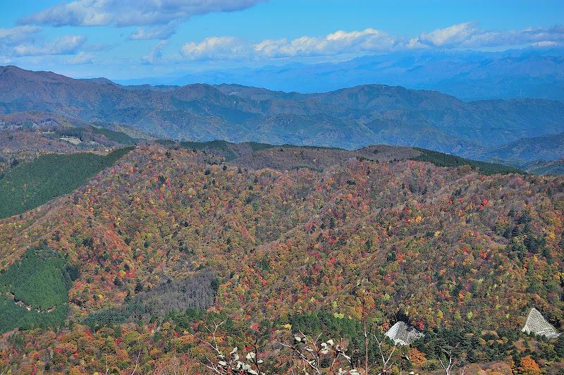 茶臼山山頂そばの展望台から紅葉を見た写真