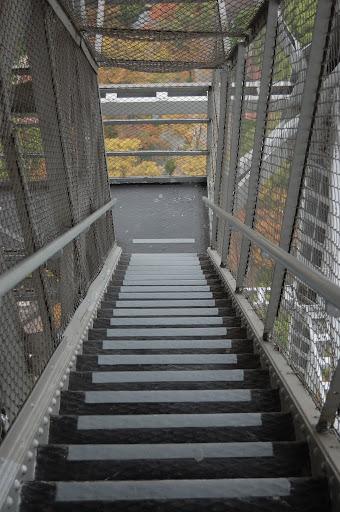 名古屋テレビ塔の下りの階段と紅葉の写真