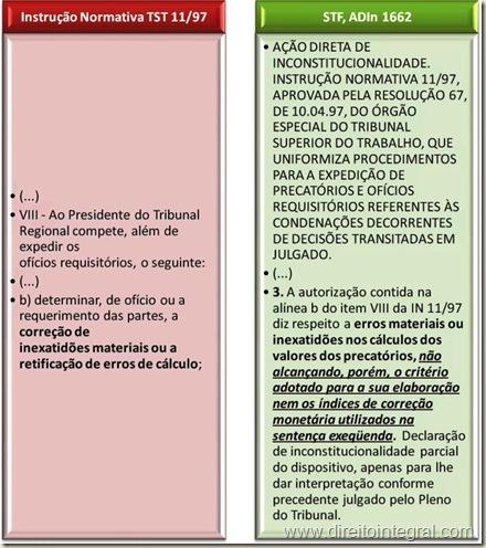 Instrução normativa nº 11/1997 do TST e ADIn 1662 - Correção de Inexatidões Materiais e Erros de Cálculo em Execução pelo Regime de Precatórios.