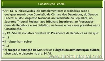 Constituição Federal. Art 61,§1º, II, e - Criação de Órgãos da Administração Pública. Iniciativa Privativa do Chefe do Executivo.
