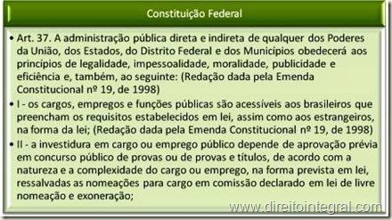 Constituição Federal, art. 37. Princípio do Concurso Público.