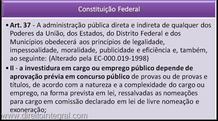 Art. 37, II da CF. Concurso Público.