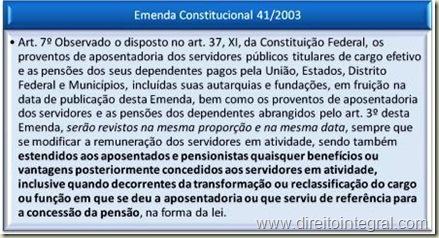 Emenda Constitucional (EC) 41 de 2003. Art. 7