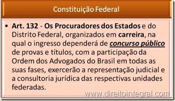 Constituição Federal. Art. 132. Concurso Público para ingresso na carreira de Procurador do Estado.