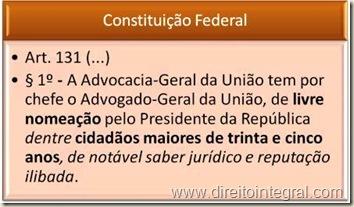 Constituição da República. Art. 131. Livre nomeação do Advogado Geral da União.