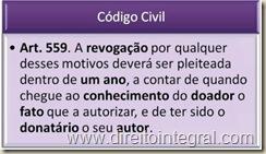 Código Civil, art. 559 - Prazo decadencial para a revogação de doação.