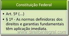 Constituição Federal - Art. 5º, §1º - Aplicação Imediata das normas definidoras dos direitos e garantias fundamentais.