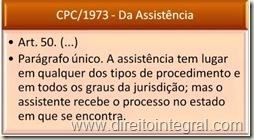 Parágrafo único. A assistência tem lugar em qualquer dos tipos de procedimento e em todos os graus da jurisdição; mas o assistente recebe o processo no estado em que se encontra.