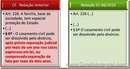 EC 66/2010 - Fim da Separação. Divórcio Direito. Constituição Federal.