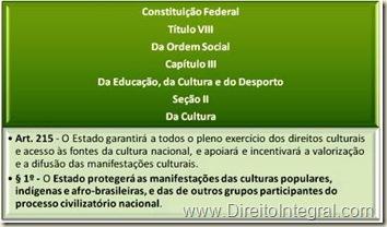 Constituição Federal - CF, art. 215, 1§º - Proteção das Manifestações Culturais Populares Pelo Estado.