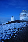 Observatories and snow atop Mauna Kea - Big Island Hawaii. Photo by Lisa Callagher Onizuka