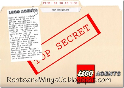 Lego Agents Party Invitation