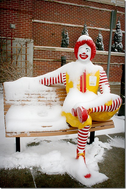 Ronald McDonald in snow