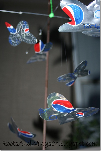 soda can tin butterfly mobile 5