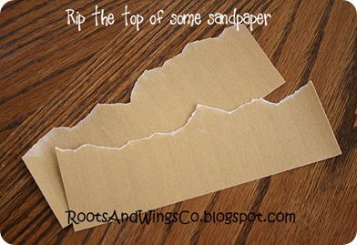 3 rip some sandpaper to be sand