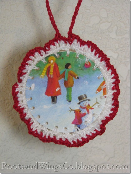21 Crochet ornament out of a christmas card