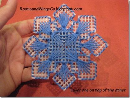 rootsandwingsco plastic canvas snowflake picture ornament