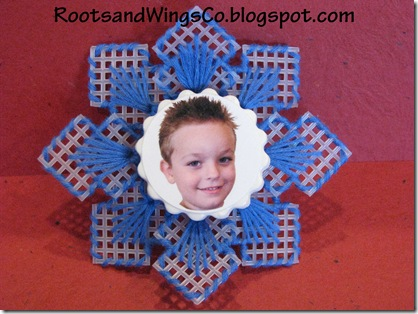 Blue Snowflake ornament with picture
