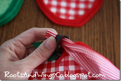 12 thread your ribbon through the loop of the brown stems