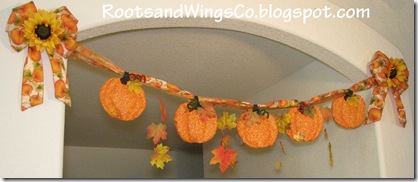 Fall Pumpkin and leaf garland