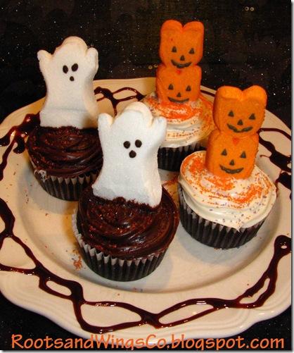 Halloween Peep cupcakes