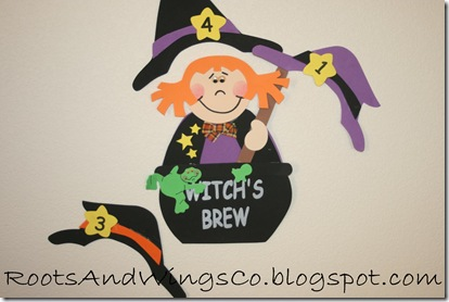 halloween pin the hat on the witch game