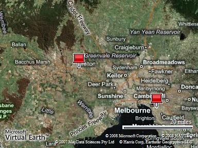 Map of Greater Melbourne showing Melton in relation to the City.