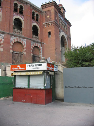 Closed frankfurt stand outside the old Arenas bullring in Barcelona's Plaza de España