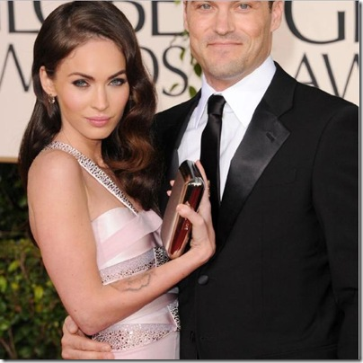2011 gOLDEN GLOBES MEGAN FOX BLUSH PINK GLITTER WITH DAVID AUSTIN GREENE