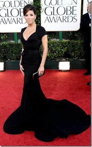 EVA LONGORIA PARKER IN BLACK DRESS AT GOLDEN GLOBES 2011