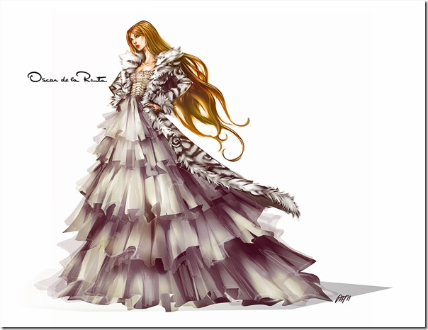 Pat Chiang fashion illustrator Oscar de la Renta illustration