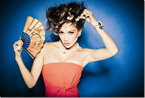 Jennifer Lopez for Tous ad campaign 2011 in orange dress with fan