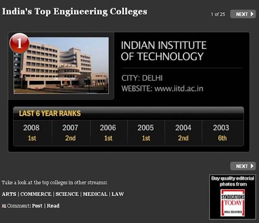 India's Top Engineering College rankings