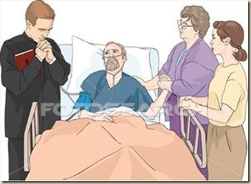 orando en hospital